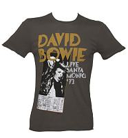 Men's Charcoal David Bowie Santa Monica T-Shirt from Amplified Vintage