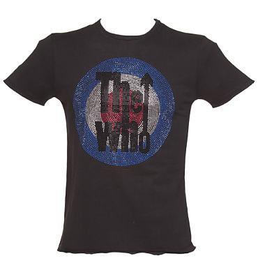 Men's Charcoal Diamante The Who Logo T-Shirt from Amplified Vintage