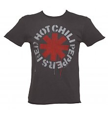 Men's Charcoal Dripping Red Hot Chili Peppers T-Shirt from Amplified [View details]