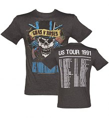 Men's Charcoal Guns N Roses 1991 Tour Front And Back Print T-Shirt from Amplified Vintage [View details]