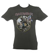 Men's Charcoal Iron Maiden Trooper T-Shirt from Amplified Vintage