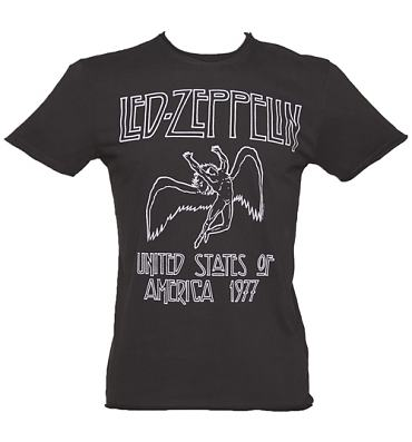 Men's Charcoal Led Zeppelin USA 1977 T-Shirt from Amplified Vintage