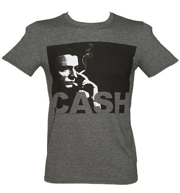 Men's Charcoal Marl Photographic Smoking Johnny Cash T-Shirt