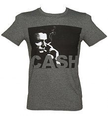 Men's Charcoal Marl Photographic Smoking Johnny Cash T-Shirt [View details]