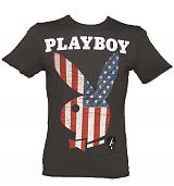 Men's Charcoal Playboy Bunny US Flag T-Shirt from Amplified Vintage