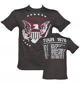 Men's Charcoal Ramones 1976 Tour Front And Back Print T-Shirt from Amplified Vintage