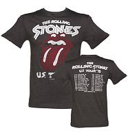 Men's Charcoal Rolling Stones US Tour 78 Front And Back Print T-Shirt from Amplified Vintage