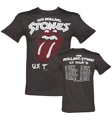 Men's Charcoal Rolling Stones US Tour 78 Front And Back Print T-Shirt from Amplified Vintage [View details]