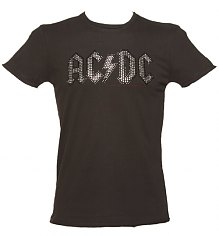 Men's Charcoal Silver And Black Diamante AC/DC Logo T-Shirt from Amplified Vintage [View details]