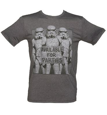 Men's Charcoal Star Wars Stormtroopers Available For Parties T-Shirt from Junk Food