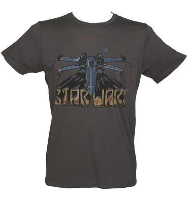 Men's Charcoal Star Wars Vintage Print X-Wing Fighter And Logo T-Shirt from Junk Food