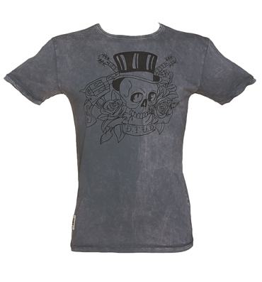 Men's Charcoal Stone Wash Tattoo Print Guns N Roses T-Shirt from Worn By
