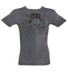 Men's Charcoal Stone Wash Tattoo Print Guns N Roses T-Shirt from Worn By [View details]