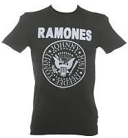 Men's Classic Charcoal Ramones Logo T-Shirt from Amplified Vintage