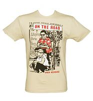 Men's On The Road By Jack Kerouac Cream T-Shirt from Out Of Print