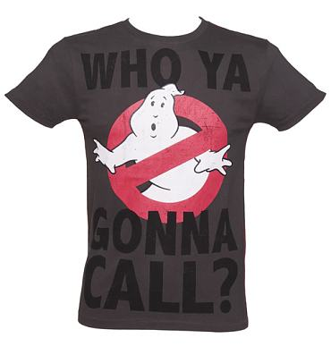 Men's Dark Grey Marble Wash Who Ya Gonna Call Ghostbusters T-Shirt from Fabric Flavours