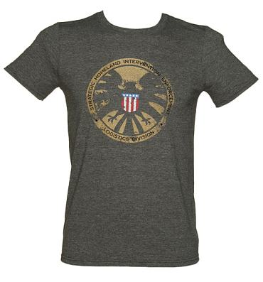 Men's Dark Heather Avengers Shield Marvel T-Shirt
