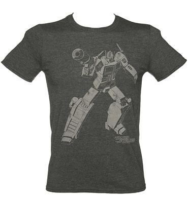 Men's Dark Heather Transformers Optimus Prime Silhouette T-Shirt