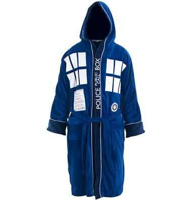 Men's Doctor Who Tardis Towelling Hooded Dressing Gown