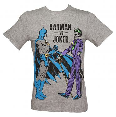 Men's Grey Batman Vs Joker T-Shirt