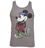 Men's Grey Beach Wear Mickey Mouse Sleveless Tank from Junk Food