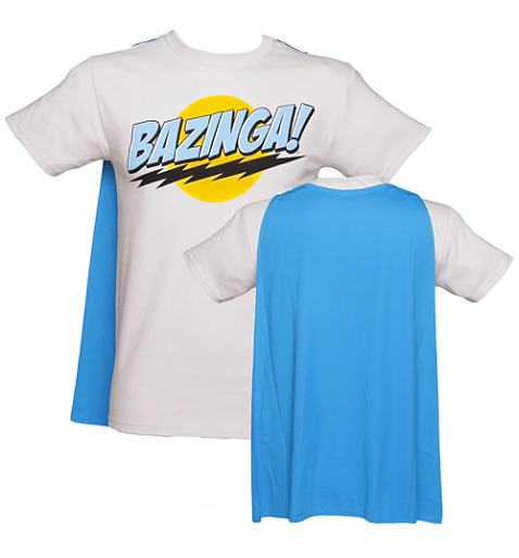 Men's Grey Big Bang Theory Bazinga Caped T-Shirt