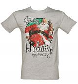 Men's Grey Coca-Cola Santa Sparkling Holidays T-Shirt