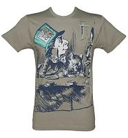 Men's Grey Marl Alice In Wonderland Mad Hatter Sketch T-Shirt from Out Of Print