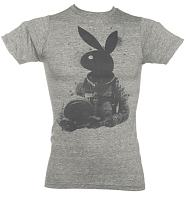 Men's Grey Marl Astronaughty Playboy T-Shirt from Palmercash
