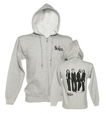 Men's Grey Marl Beatles Photographic Back Print Zip Through Hoodie [View details]