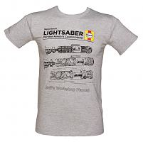 Men's Grey Marl Haynes Manual Light Saber Technical Drawing Star Wars T-Shirt