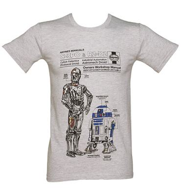 Men's Grey Marl Haynes Manual Star Wars C3PO And R2D2 Star Wars T-Shirt