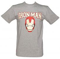 Men's Grey Marl Iron Man Mask College Marvel T-Shirt from Addict