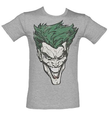 Men's Grey Marl Joker Face Batman T-Shirt