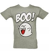 Men's Grey Marl Nintendo Boo T-Shirt