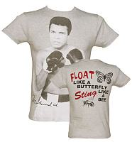 Men's Grey Marl Photograhic Muhammad Ali T-Shirt from Fabric Flavours