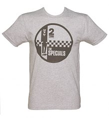 Men's Grey Marl Specials Two Tone Records Logo T-Shirt from Dirty Cotton Scoundrels [View details]