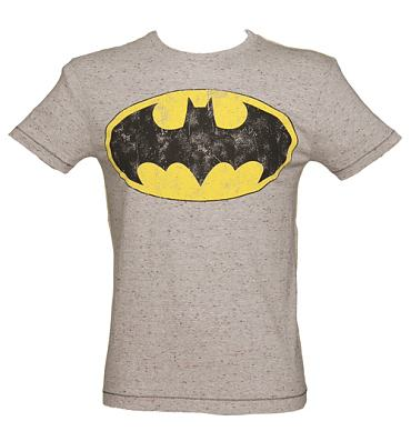 Men's Grey Marl Speckled Batman Logo T-Shirt from Fabric Flavours