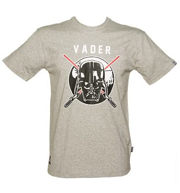 Men's Grey Marl Star Wars Darth Vader Shield T-Shirt from Addict