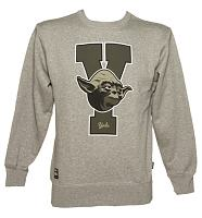 Men's Grey Marl Star Wars Yoda College Sweater from Addict