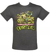 Men's Grey Marl Teenage Mutant Ninja Turtles Group T-Shirt