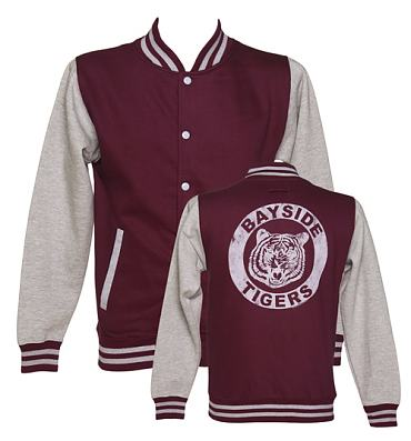 Men's Grey Saved By The Bell Bayside Tigers Varsity Jacket