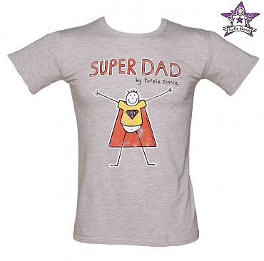 Men's Grey Super Dad Purple Ronnie T-Shirt