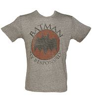 Men's Grey Triblend Fly Responsibly Batman T-Shirt from Junk Food