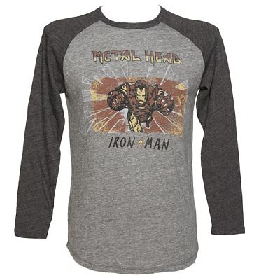 Men's Grey Triblend Iron Man Baseball Top from Junk Food