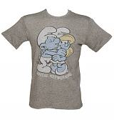 Men's Grey Triblend Smurfs Social Networking T-Shirt from Junk Food