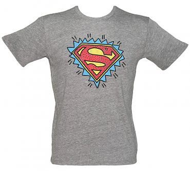 Men's Grey Triblend Superman 90's Logo T-Shirt from Junk Food