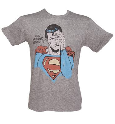 Men's Grey Triblend What Happened Last Night? Superman T-Shirt from Junk Food