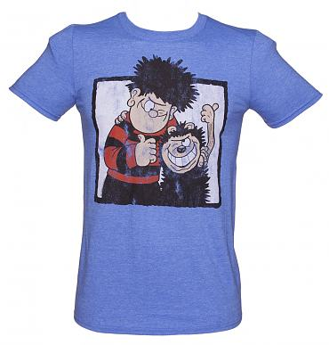 Men's Heather Blue Dennis The Menace And Gnasher Beano T-Shirt