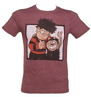 Men's Heather Maroon Dennis The Menace And Gnasher Beano T-Shirt